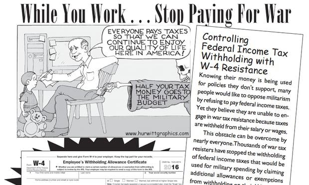 """While You Work...Stop Paying for War,"" cartoon by Mark Hurwitt"