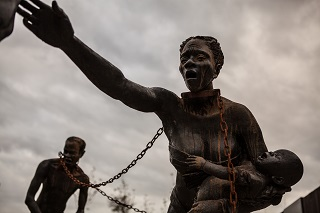 """Nkyinkim Installation by Kwame Akoto Bamfo at the National Memorial for Peace and Justice"""
