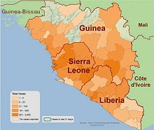 2014 Ebola Outbreak in West Africa: Outbreak Distribution Map (Total Cases), Centers for Disease Control and Prevention (CDC)