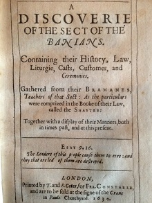 Discoverie of the Sect of the Banians, Henry Lord (1630)